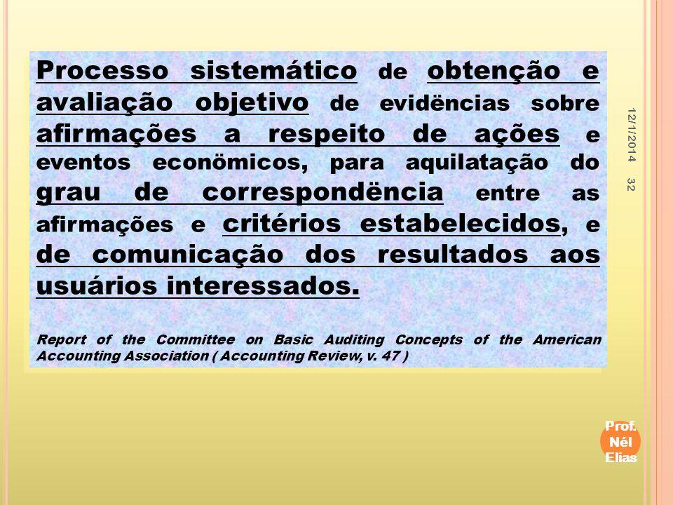 12/1/2014 Prof. Nél Elias 32 Processo sistemático de obtenção e avaliação objetivo de evidëncias sobre afirmações a respeito de ações e eventos econöm