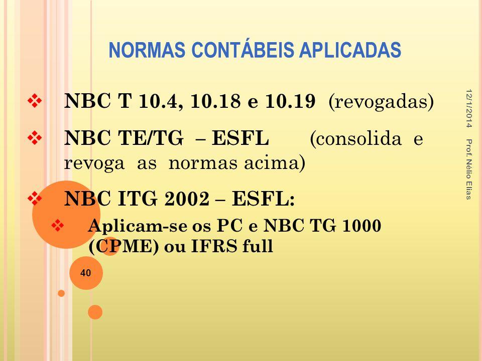 NORMAS CONTÁBEIS APLICADAS 40 NBC T 10.4, 10.18 e 10.19 (revogadas) NBC TE/TG – ESFL (consolida e revoga as normas acima) NBC ITG 2002 – ESFL: Aplicam