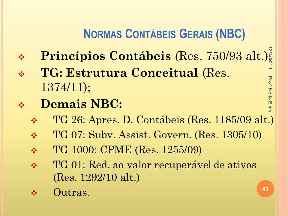 N ORMAS C ONTÁBEIS G ERAIS (NBC) Princípios Contábeis (Res. 750/93 alt.); TG: Estrutura Conceitual (Res. 1374/11); Demais NBC: TG 26: Apres. D. Contáb
