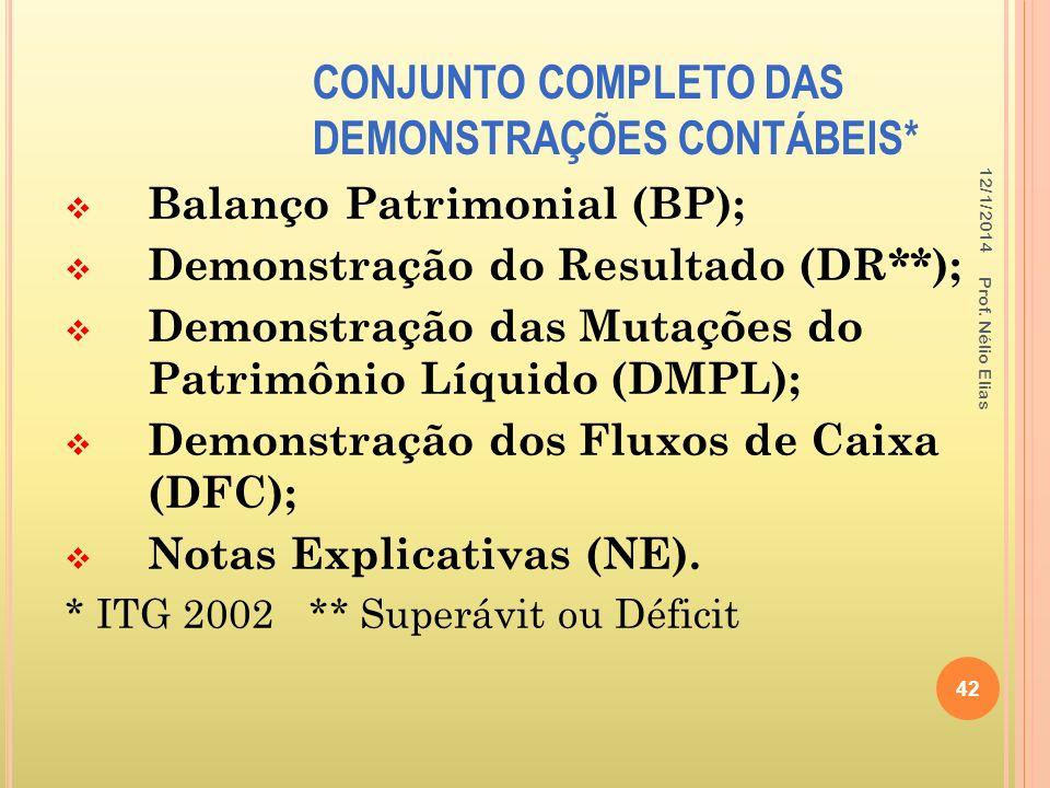 CONJUNTO COMPLETO DAS DEMONSTRAÇÕES CONTÁBEIS* Balanço Patrimonial (BP); Demonstração do Resultado (DR**); Demonstração das Mutações do Patrimônio Líq