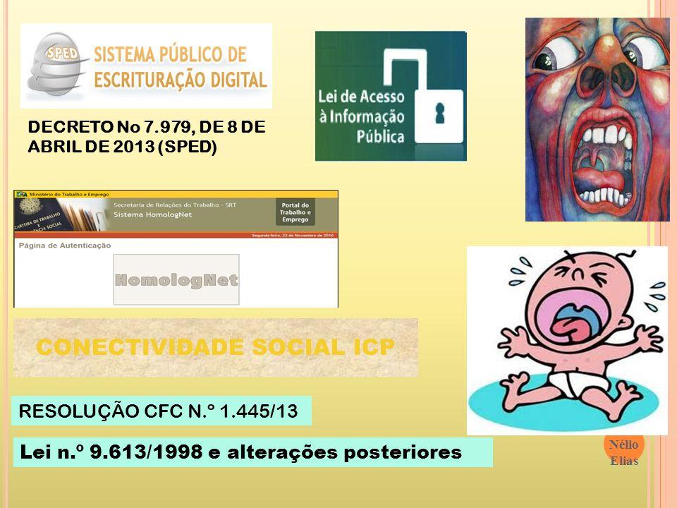 12/1/2014 Prof. Nélio Elias 47 CONECTIVIDADE SOCIAL ICP DECRETO No 7.979, DE 8 DE ABRIL DE 2013 (SPED) RESOLUÇÃO CFC N.º 1.445/13 Lei n.º 9.613/1998 e