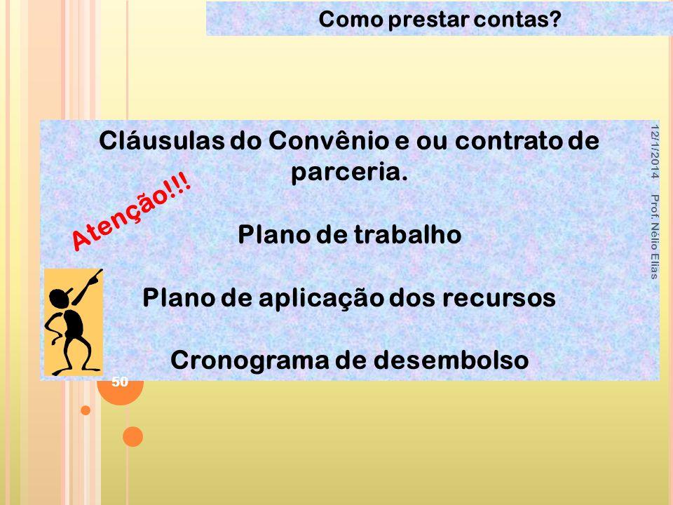 Cláusulas do Convênio e ou contrato de parceria. Plano de trabalho Plano de aplicação dos recursos Cronograma de desembolso Atenção!!! 12/1/2014 Prof.