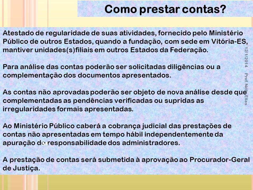 Atestado de regularidade de suas atividades, fornecido pelo Ministério Público de outros Estados, quando a fundação, com sede em Vitória-ES, mantiver