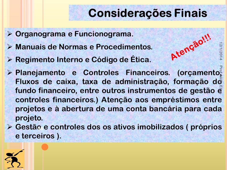 Considerações Finais Organograma e Funcionograma. Manuais de Normas e Procedimentos. Regimento Interno e Código de Ética. Planejamento e Controles Fin