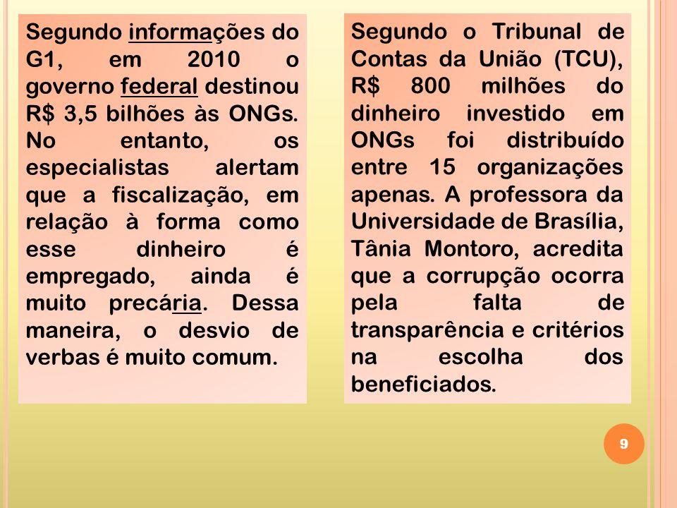 9 Segundo informações do G1, em 2010 o governo federal destinou R$ 3,5 bilhões às ONGs. No entanto, os especialistas alertam que a fiscalização, em re