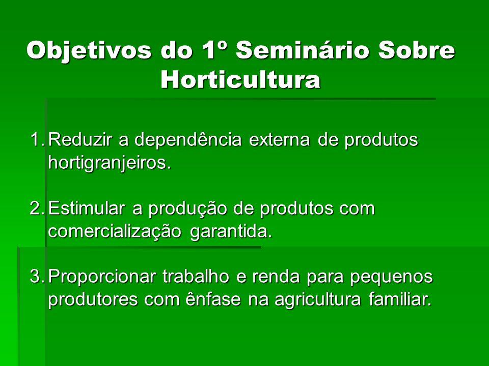 Objetivos do 1º Seminário Sobre Horticultura 1.Reduzir a dependência externa de produtos hortigranjeiros. 2.Estimular a produção de produtos com comer