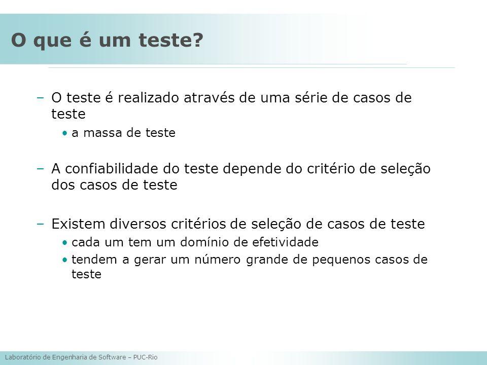 Laboratório de Engenharia de Software – PUC-Rio O que é um teste? –O teste é realizado através de uma série de casos de teste a massa de teste –A conf