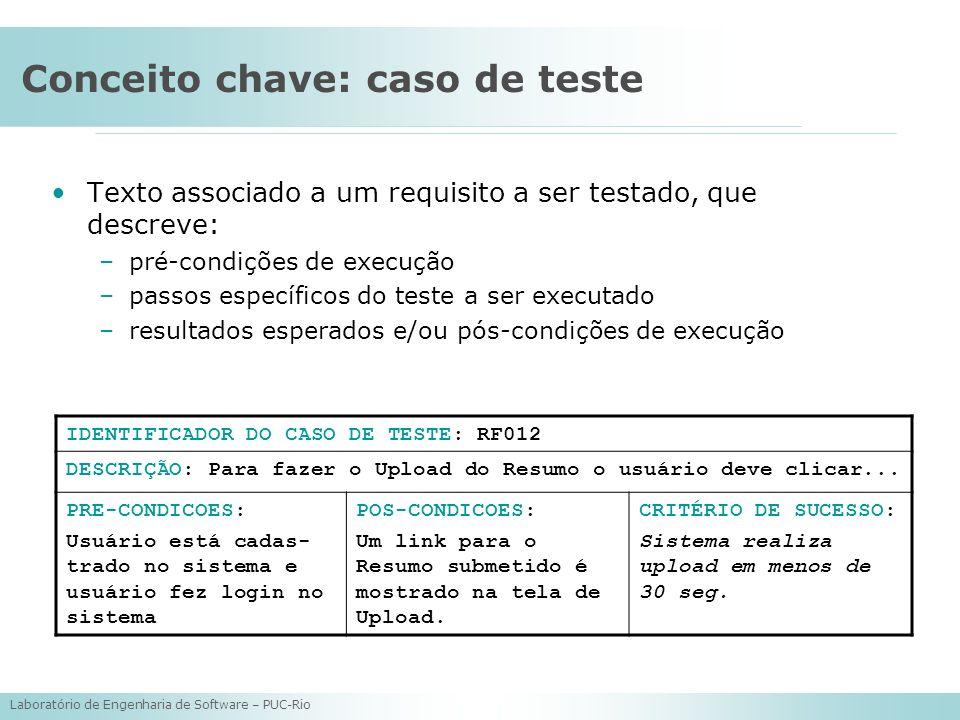 Laboratório de Engenharia de Software – PUC-Rio Conceito chave: caso de teste Texto associado a um requisito a ser testado, que descreve: –pré-condiçõ