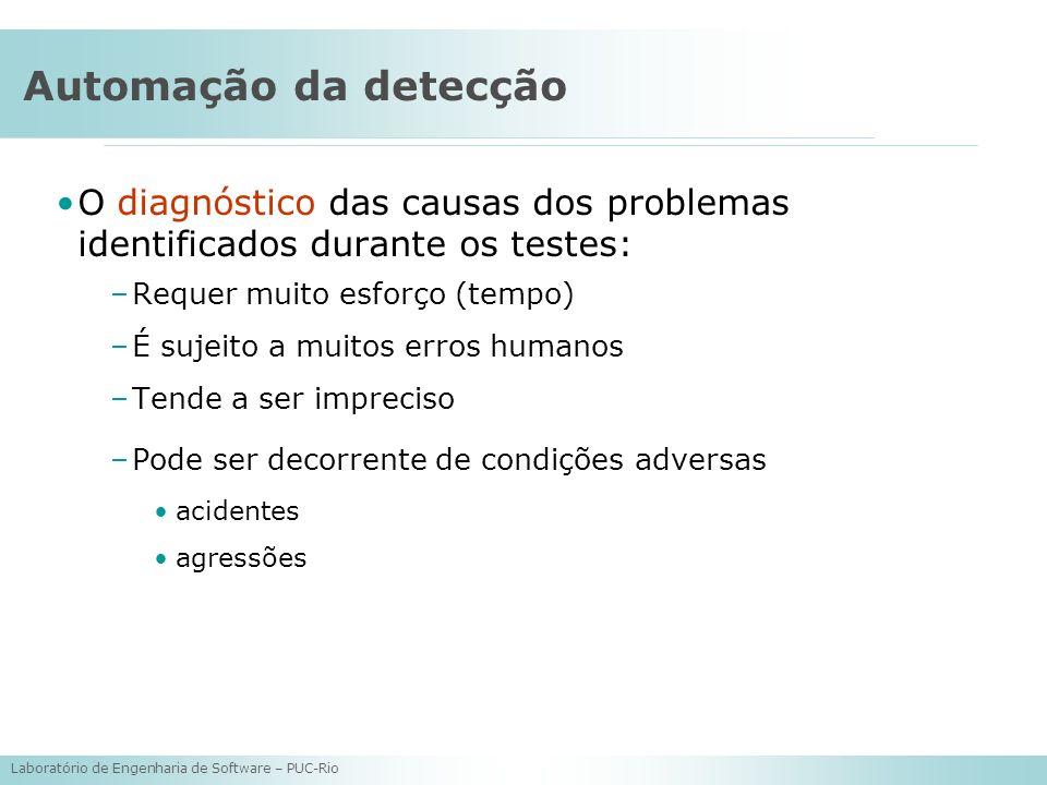 Laboratório de Engenharia de Software – PUC-Rio Automação da detecção O diagnóstico das causas dos problemas identificados durante os testes: –Requer