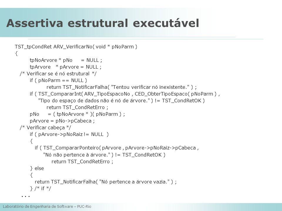 Laboratório de Engenharia de Software – PUC-Rio Assertiva estrutural executável TST_tpCondRet ARV_VerificarNo( void * pNoParm ) { tpNoArvore * pNo = N