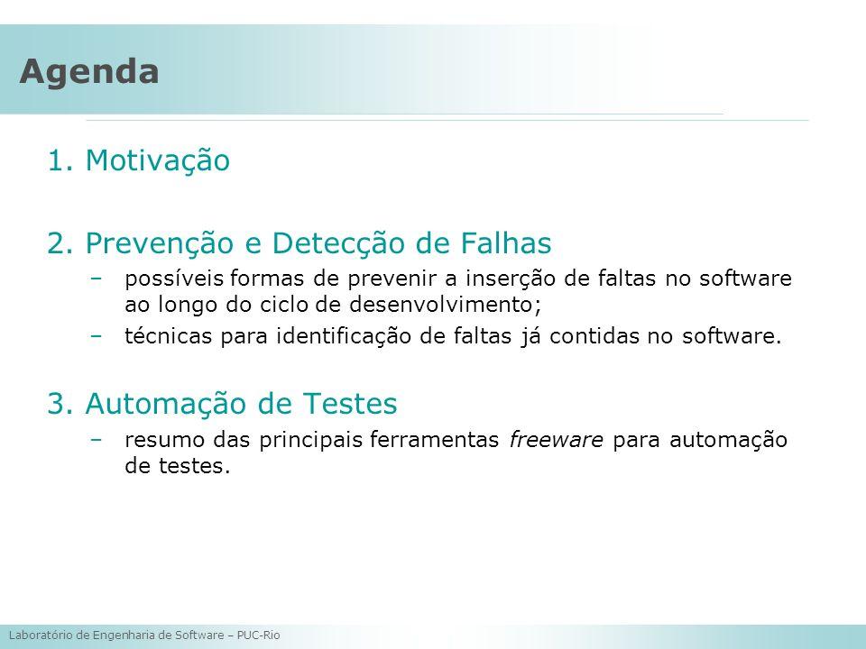 Laboratório de Engenharia de Software – PUC-Rio Agenda 1.Motivação 2.Prevenção e Detecção de Falhas –possíveis formas de prevenir a inserção de faltas