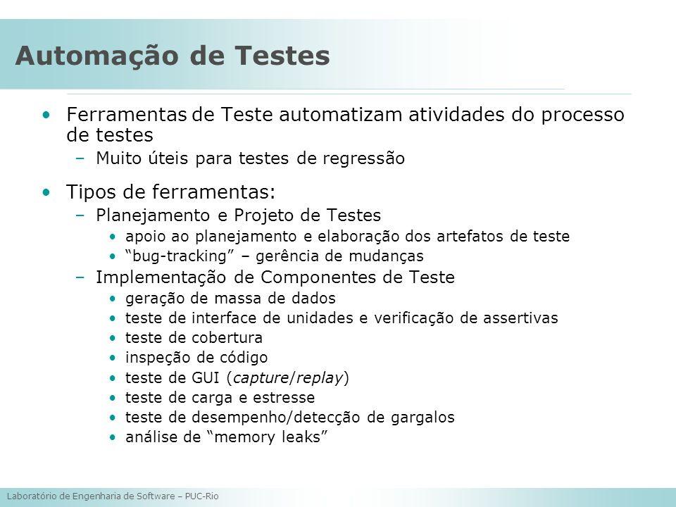 Laboratório de Engenharia de Software – PUC-Rio Automação de Testes Ferramentas de Teste automatizam atividades do processo de testes –Muito úteis par