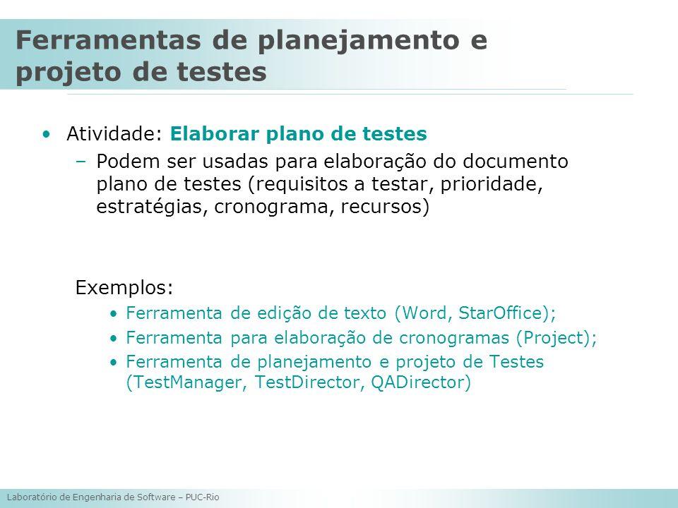Laboratório de Engenharia de Software – PUC-Rio Atividade: Elaborar plano de testes –Podem ser usadas para elaboração do documento plano de testes (re