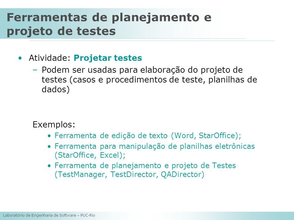 Laboratório de Engenharia de Software – PUC-Rio Atividade: Projetar testes –Podem ser usadas para elaboração do projeto de testes (casos e procediment