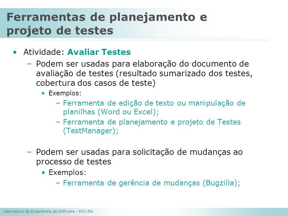 Laboratório de Engenharia de Software – PUC-Rio Atividade: Avaliar Testes –Podem ser usadas para elaboração do documento de avaliação de testes (resul