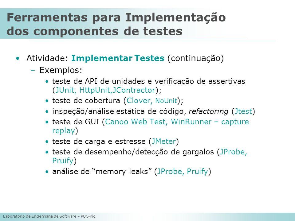 Laboratório de Engenharia de Software – PUC-Rio Atividade: Implementar Testes (continuação) –Exemplos: teste de API de unidades e verificação de asser