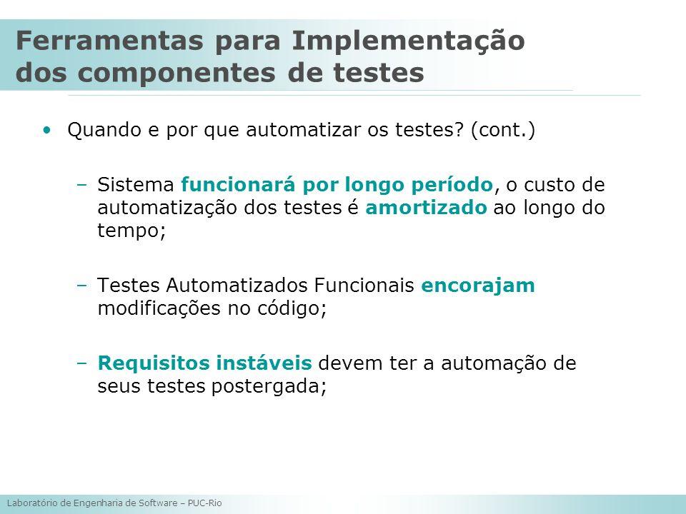 Laboratório de Engenharia de Software – PUC-Rio Quando e por que automatizar os testes? (cont.) –Sistema funcionará por longo período, o custo de auto