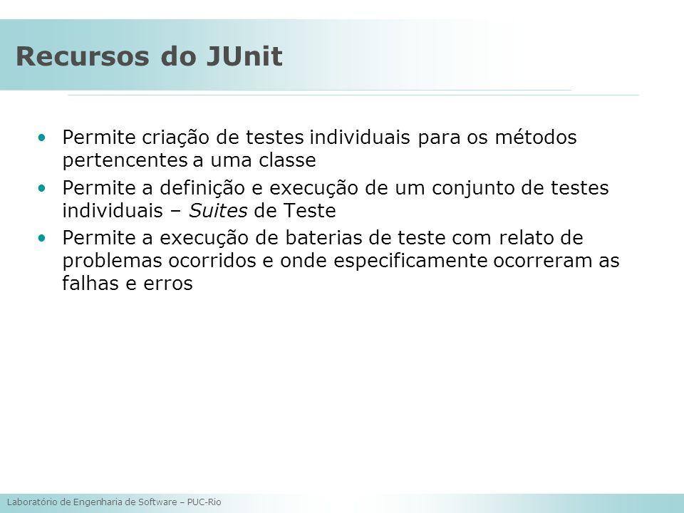 Laboratório de Engenharia de Software – PUC-Rio Recursos do JUnit Permite criação de testes individuais para os métodos pertencentes a uma classe Perm