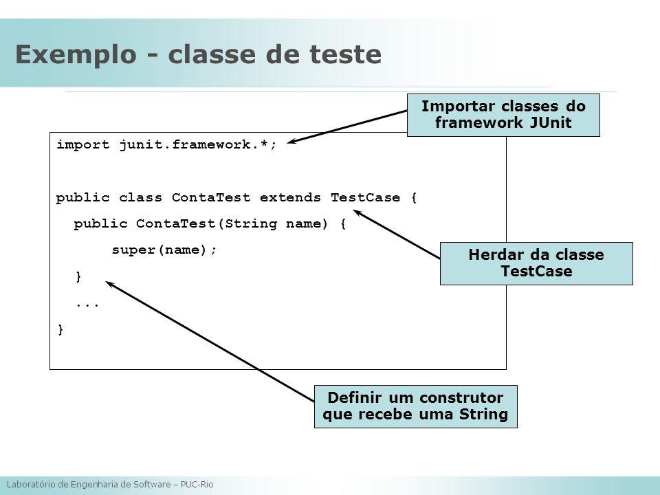 Laboratório de Engenharia de Software – PUC-Rio Exemplo - classe de teste import junit.framework.*; public class ContaTest extends TestCase { public C