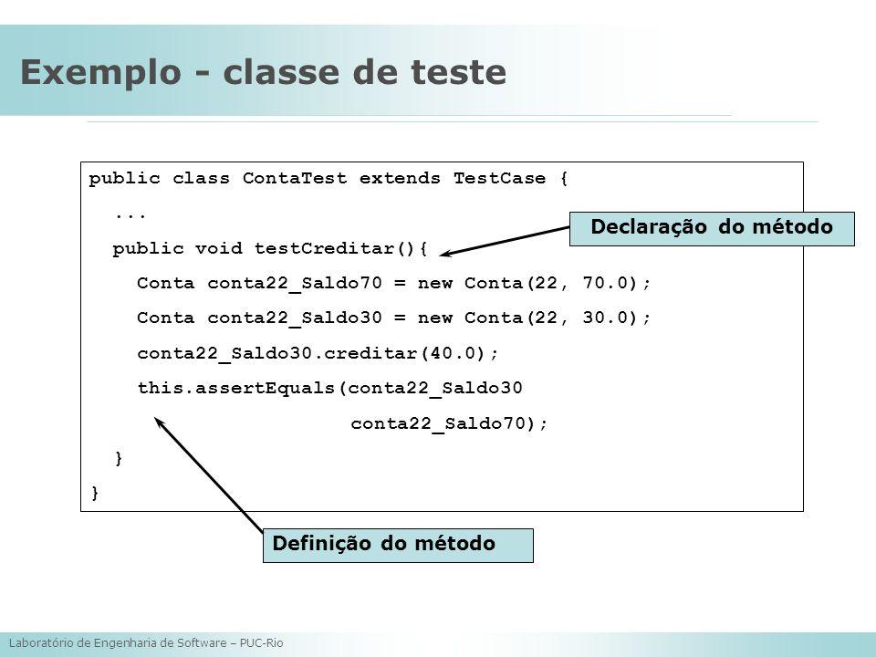 Laboratório de Engenharia de Software – PUC-Rio Exemplo - classe de teste public class ContaTest extends TestCase {... public void testCreditar(){ Con