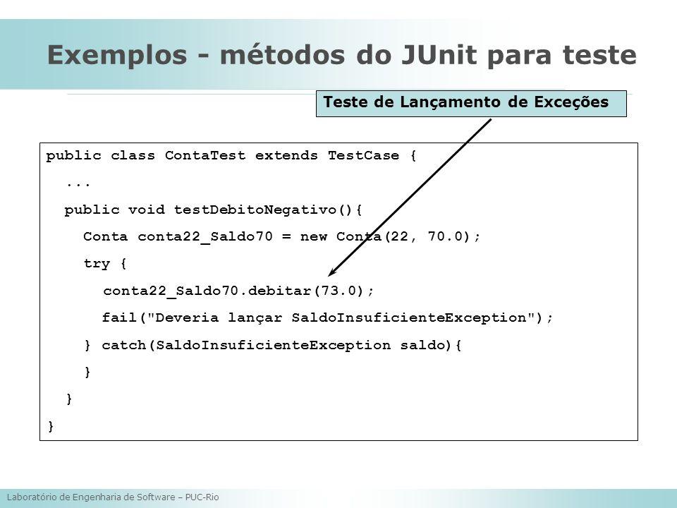Laboratório de Engenharia de Software – PUC-Rio Exemplos - métodos do JUnit para teste public class ContaTest extends TestCase {... public void testDe