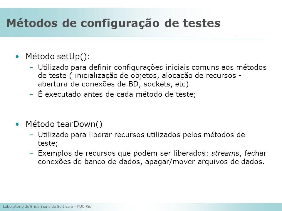 Laboratório de Engenharia de Software – PUC-Rio Métodos de configuração de testes Método setUp(): –Utilizado para definir configurações iniciais comun