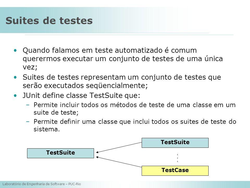 Laboratório de Engenharia de Software – PUC-Rio Suites de testes Quando falamos em teste automatizado é comum querermos executar um conjunto de testes