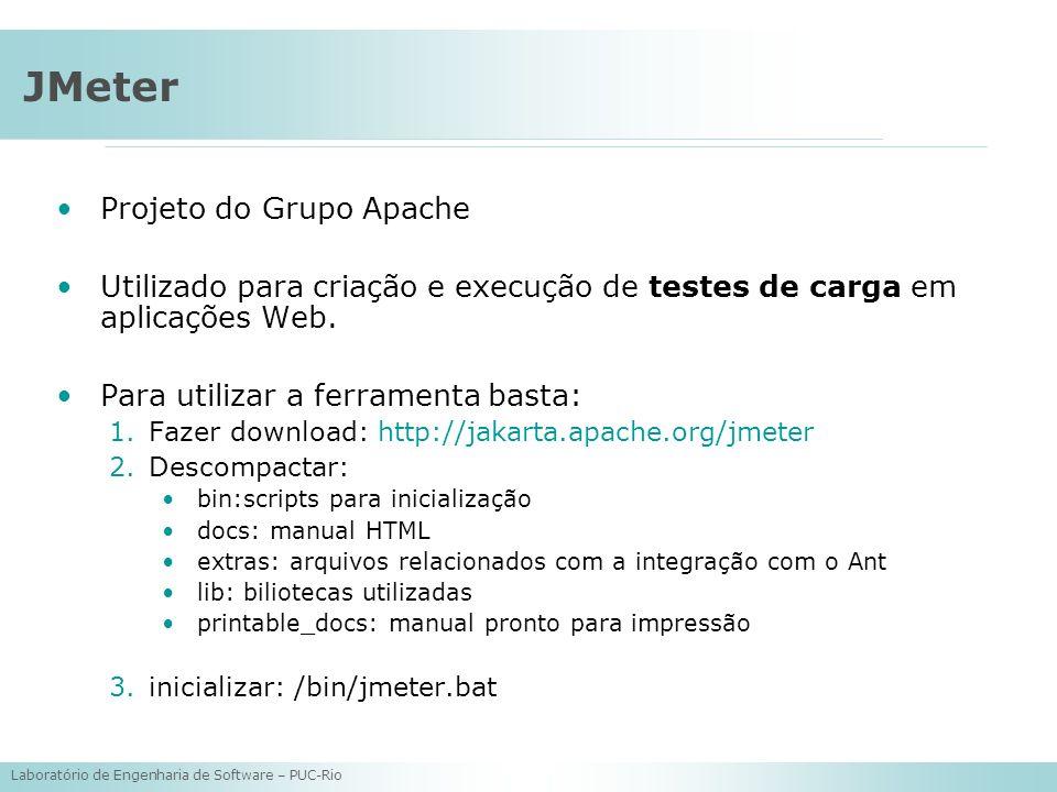 Laboratório de Engenharia de Software – PUC-Rio JMeter Projeto do Grupo Apache Utilizado para criação e execução de testes de carga em aplicações Web.