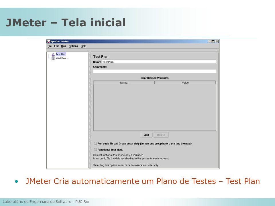 Laboratório de Engenharia de Software – PUC-Rio JMeter – Tela inicial JMeter Cria automaticamente um Plano de Testes – Test Plan