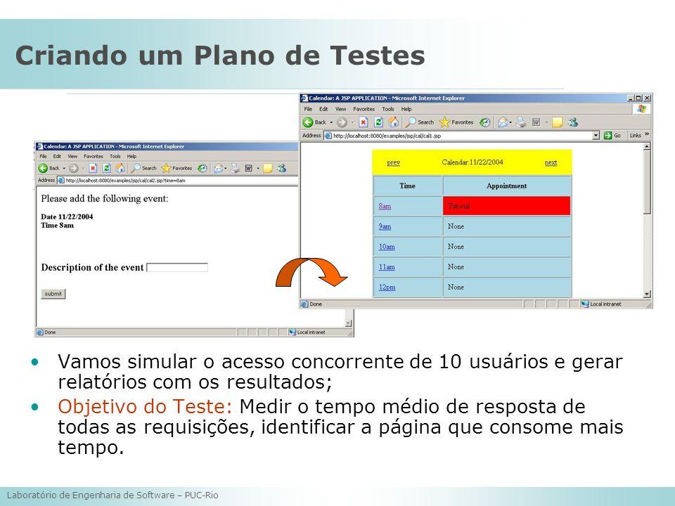 Laboratório de Engenharia de Software – PUC-Rio Criando um Plano de Testes Vamos simular o acesso concorrente de 10 usuários e gerar relatórios com os