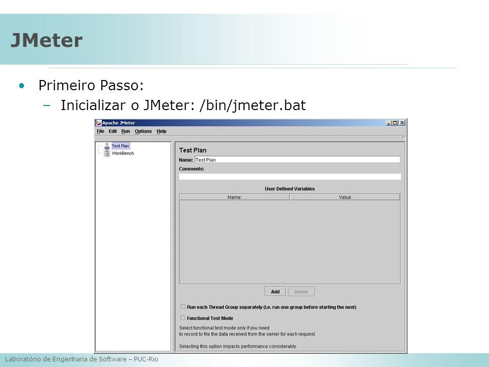 Laboratório de Engenharia de Software – PUC-Rio JMeter Primeiro Passo: –Inicializar o JMeter: /bin/jmeter.bat