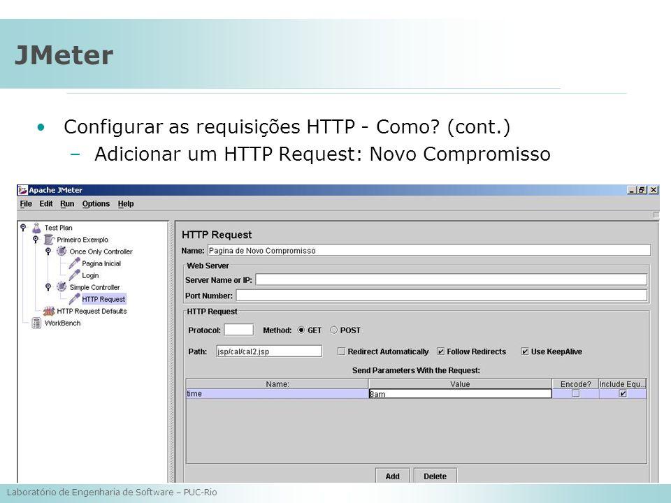 Laboratório de Engenharia de Software – PUC-Rio JMeter Configurar as requisições HTTP - Como? (cont.) –Adicionar um HTTP Request: Novo Compromisso