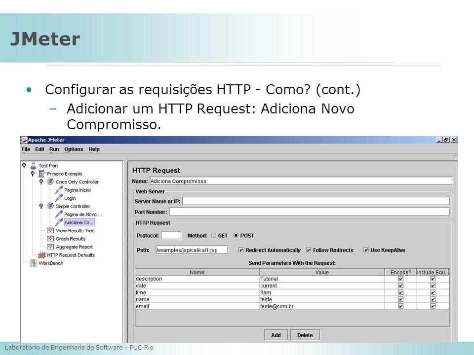Laboratório de Engenharia de Software – PUC-Rio JMeter Configurar as requisições HTTP - Como? (cont.) –Adicionar um HTTP Request: Adiciona Novo Compro