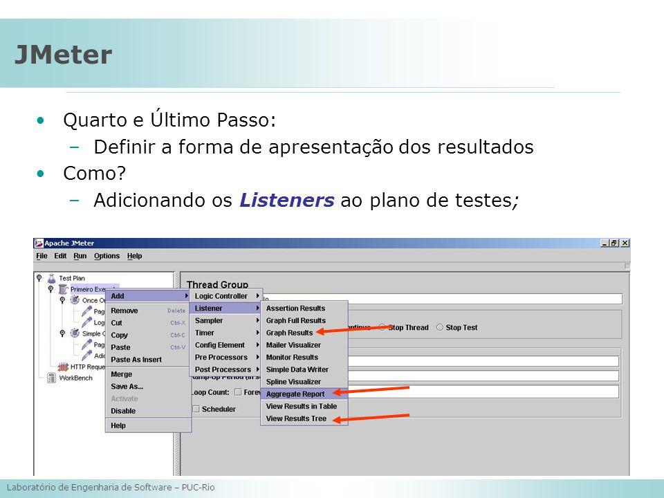 Laboratório de Engenharia de Software – PUC-Rio JMeter Quarto e Último Passo: –Definir a forma de apresentação dos resultados Como? –Adicionando os Li