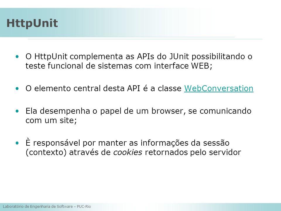 Laboratório de Engenharia de Software – PUC-Rio HttpUnit O HttpUnit complementa as APIs do JUnit possibilitando o teste funcional de sistemas com inte