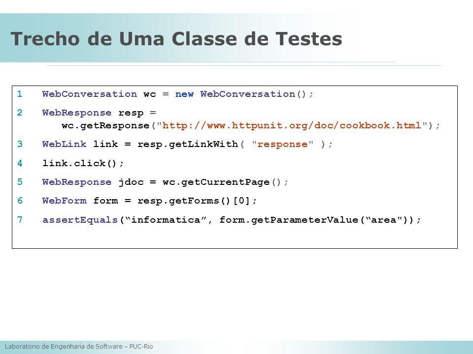 Laboratório de Engenharia de Software – PUC-Rio Trecho de Uma Classe de Testes 1 WebConversation wc = new WebConversation(); 2 WebResponse resp =. wc.
