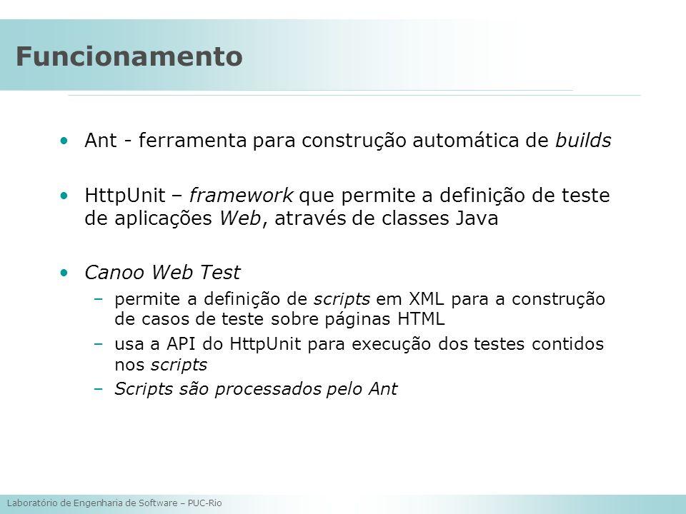 Laboratório de Engenharia de Software – PUC-Rio Funcionamento Ant - ferramenta para construção automática de builds HttpUnit – framework que permite a