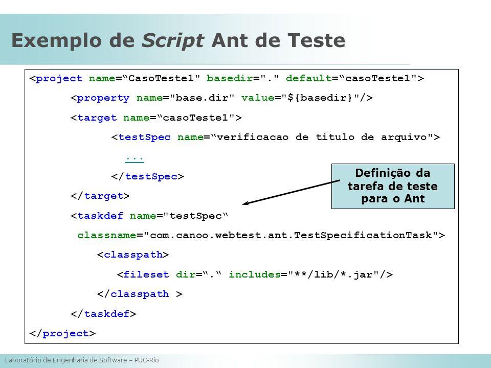 Laboratório de Engenharia de Software – PUC-Rio Exemplo de Script Ant de Teste... <taskdef name=