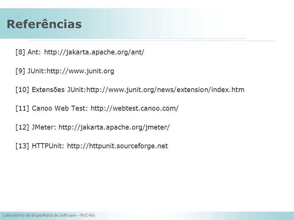 Laboratório de Engenharia de Software – PUC-Rio Referências [8] Ant: http://jakarta.apache.org/ant/ [9] JUnit:http://www.junit.org [10] Extensões JUni