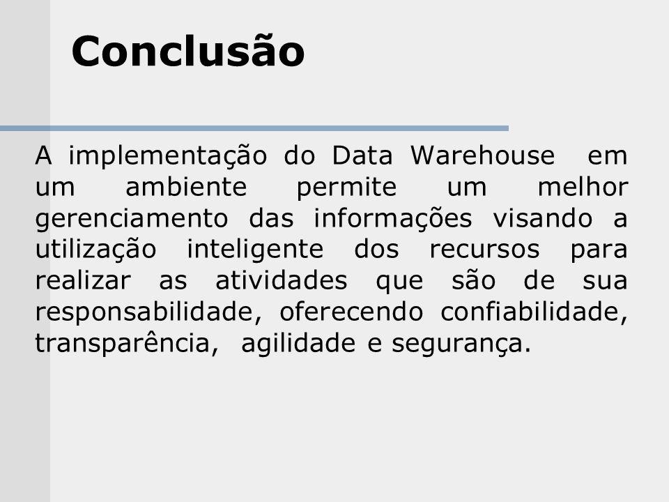 Conclusão A implementação do Data Warehouse em um ambiente permite um melhor gerenciamento das informações visando a utilização inteligente dos recurs