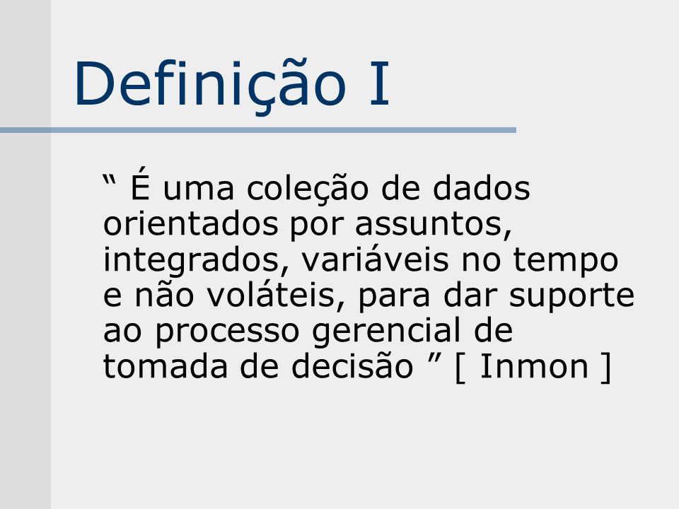 Definição I É uma coleção de dados orientados por assuntos, integrados, variáveis no tempo e não voláteis, para dar suporte ao processo gerencial de t