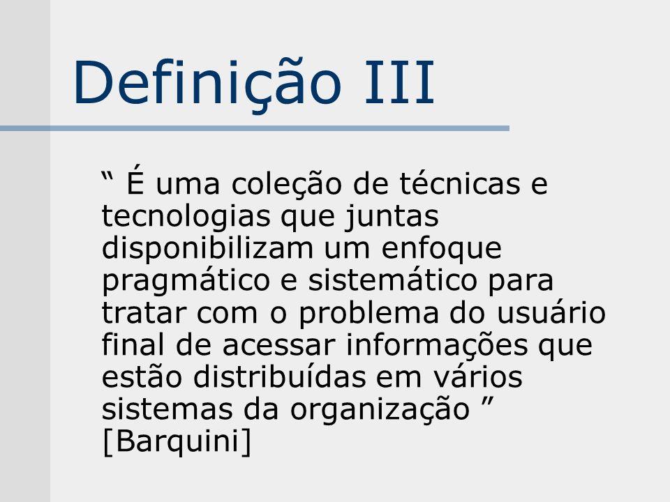 Definição III É uma coleção de técnicas e tecnologias que juntas disponibilizam um enfoque pragmático e sistemático para tratar com o problema do usuá
