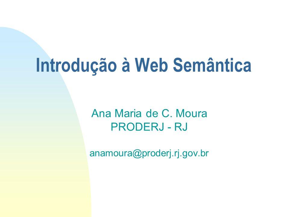Introdução à Web Semântica Ana Maria de C. Moura PRODERJ - RJ anamoura@proderj.rj.gov.br