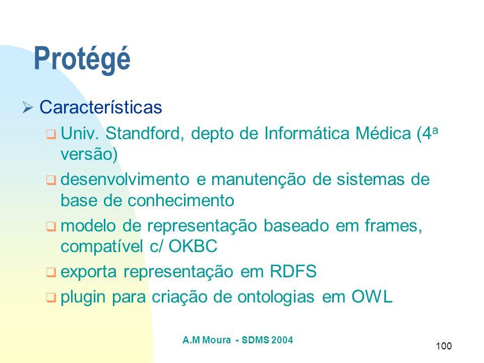 A.M Moura - SDMS 2004 100 Protégé Características Univ. Standford, depto de Informática Médica (4 a versão) desenvolvimento e manutenção de sistemas d