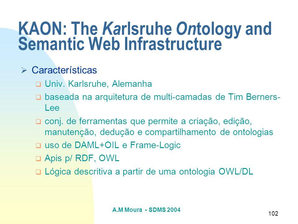 A.M Moura - SDMS 2004 102 KAON: The Ka rlsruhe On tology and Semantic Web Infrastructure Características Univ. Karlsruhe, Alemanha baseada na arquitet