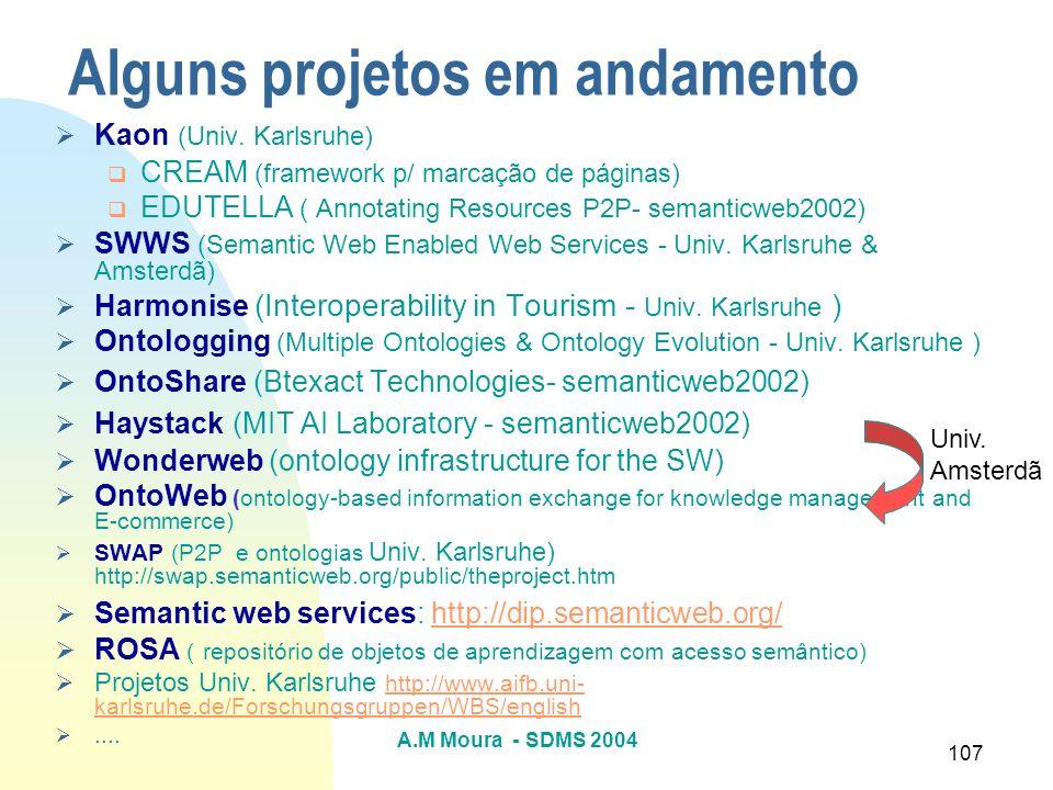 A.M Moura - SDMS 2004 107 Alguns projetos em andamento Kaon (Univ. Karlsruhe) CREAM (framework p/ marcação de páginas) EDUTELLA ( Annotating Resources