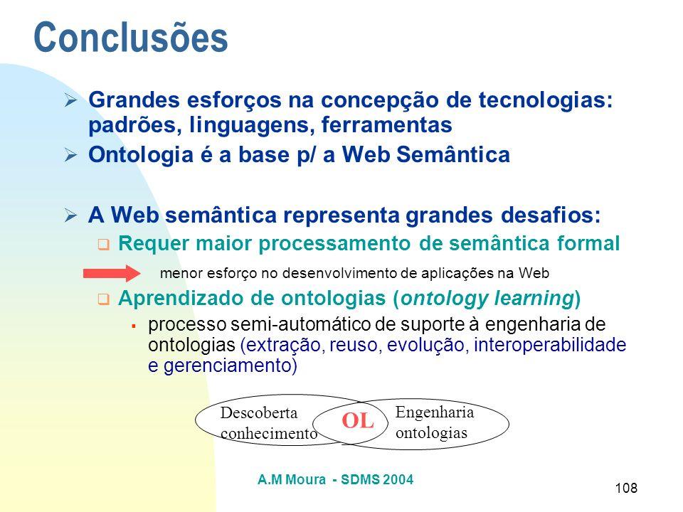 A.M Moura - SDMS 2004 108 Conclusões Grandes esforços na concepção de tecnologias: padrões, linguagens, ferramentas Ontologia é a base p/ a Web Semânt