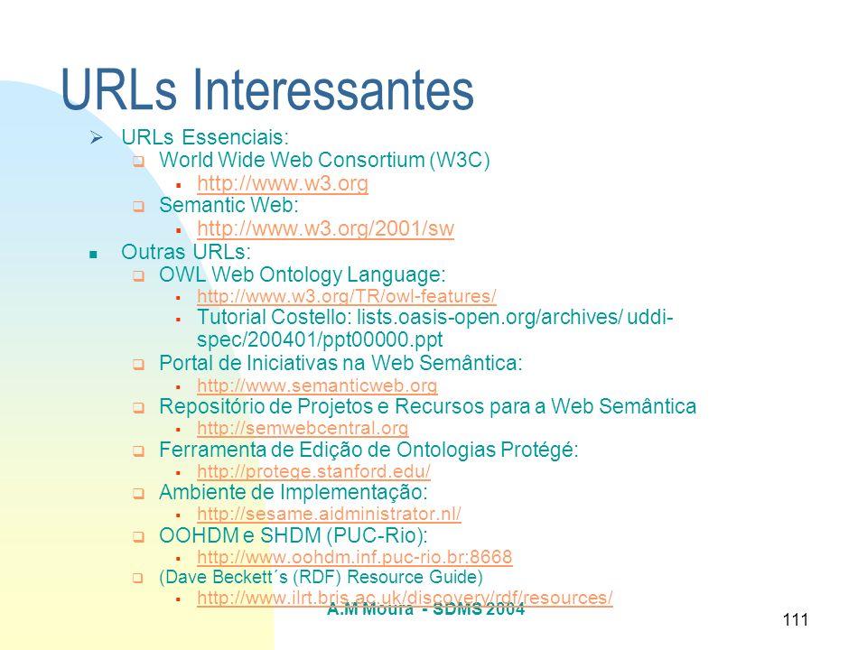 A.M Moura - SDMS 2004 111 URLs Interessantes URLs Essenciais: World Wide Web Consortium (W3C) http://www.w3.org Semantic Web: http://www.w3.org/2001/s