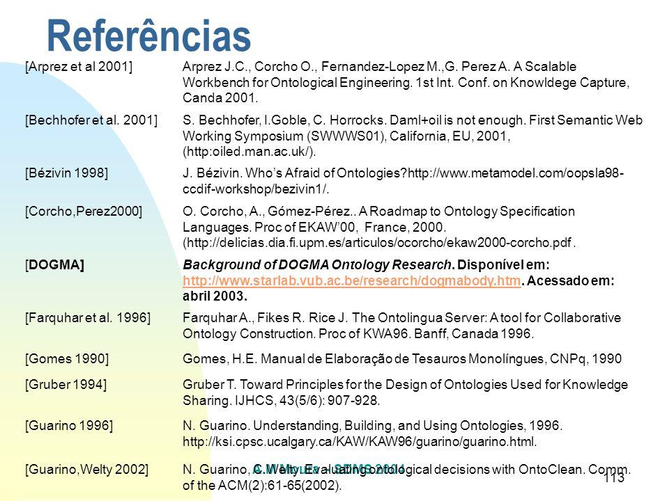 A.M Moura - SDMS 2004 113 Referências [Arprez et al 2001]Arprez J.C., Corcho O., Fernandez-Lopez M.,G. Perez A. A Scalable Workbench for Ontological E