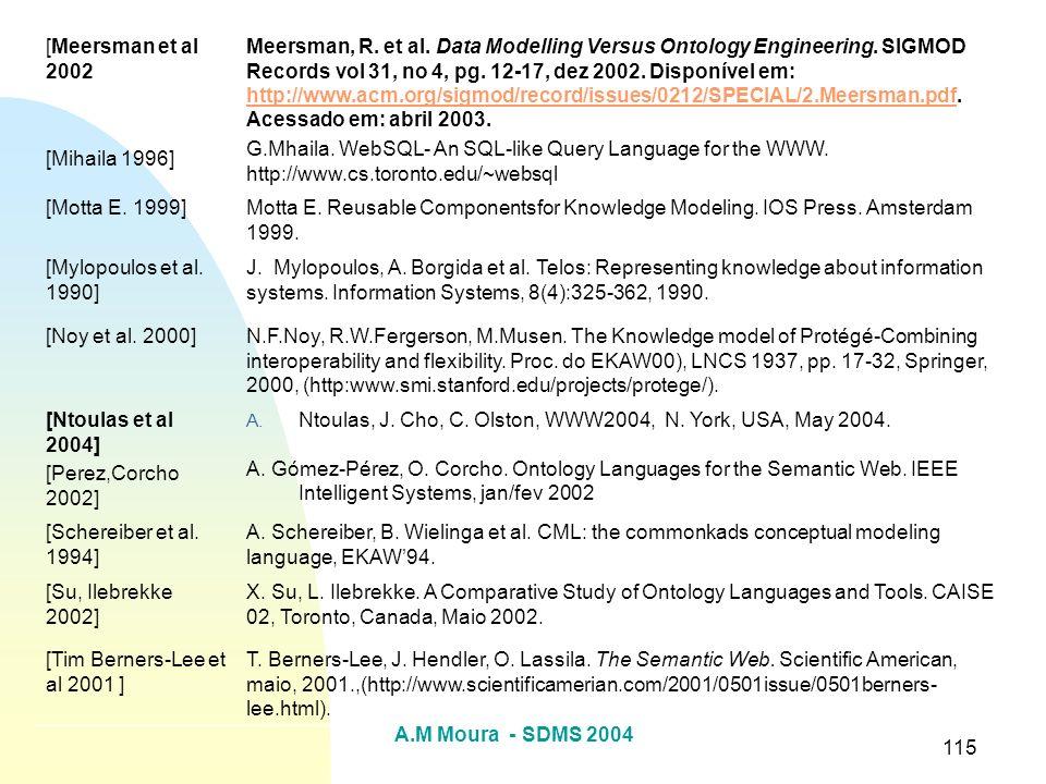 A.M Moura - SDMS 2004 115 [Meersman et al 2002 [Mihaila 1996] Meersman, R. et al. Data Modelling Versus Ontology Engineering. SIGMOD Records vol 31, n